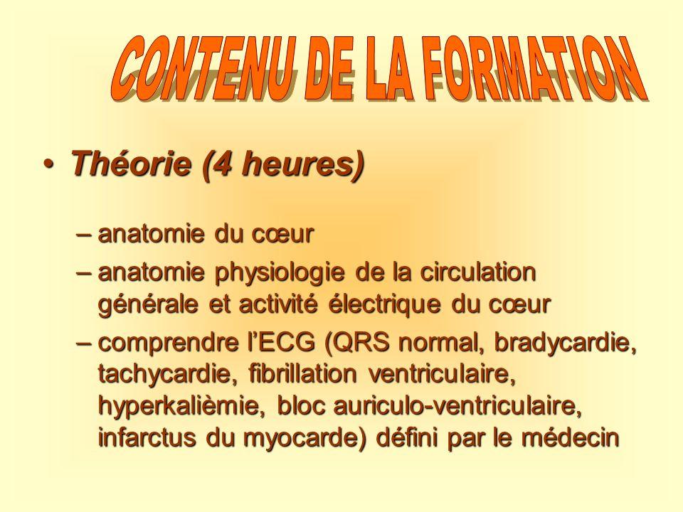 Théorie (4 heures)Théorie (4 heures) –anatomie du cœur –anatomie physiologie de la circulation générale et activité électrique du cœur –comprendre lEC
