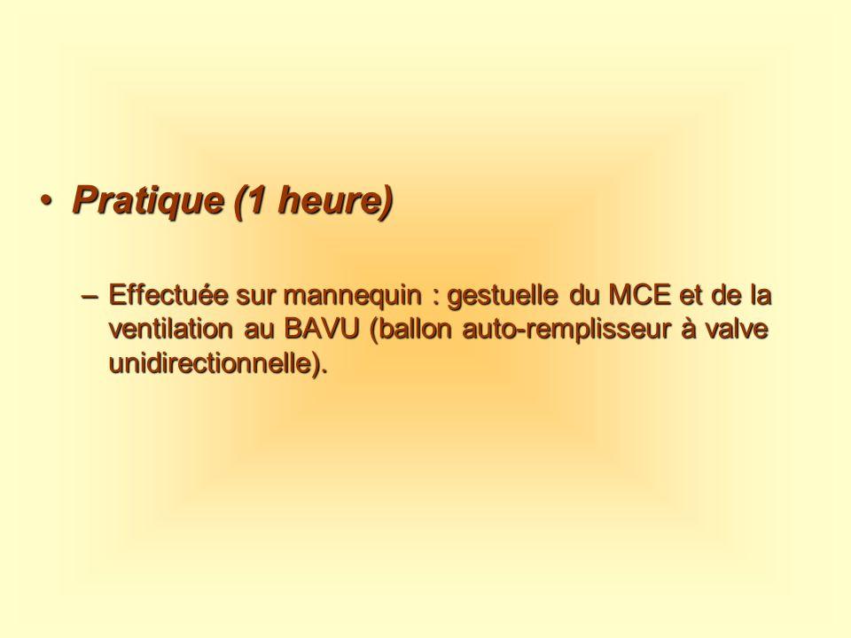 Pratique (1 heure)Pratique (1 heure) –Effectuée sur mannequin : gestuelle du MCE et de la ventilation au BAVU (ballon auto-remplisseur à valve unidire