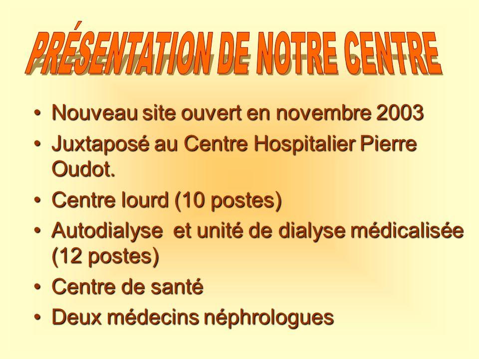 Nouveau site ouvert en novembre 2003Nouveau site ouvert en novembre 2003 Juxtaposé au Centre Hospitalier Pierre Oudot.Juxtaposé au Centre Hospitalier