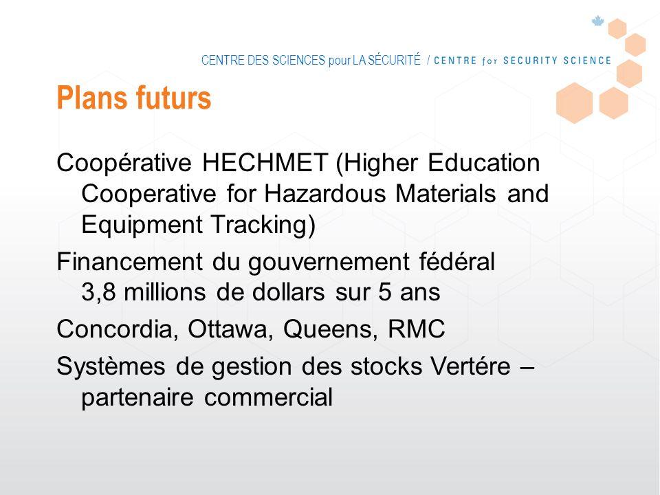 CENTRE DES SCIENCES pour LA SÉCURITÉ / Plans futurs Coopérative HECHMET (Higher Education Cooperative for Hazardous Materials and Equipment Tracking)