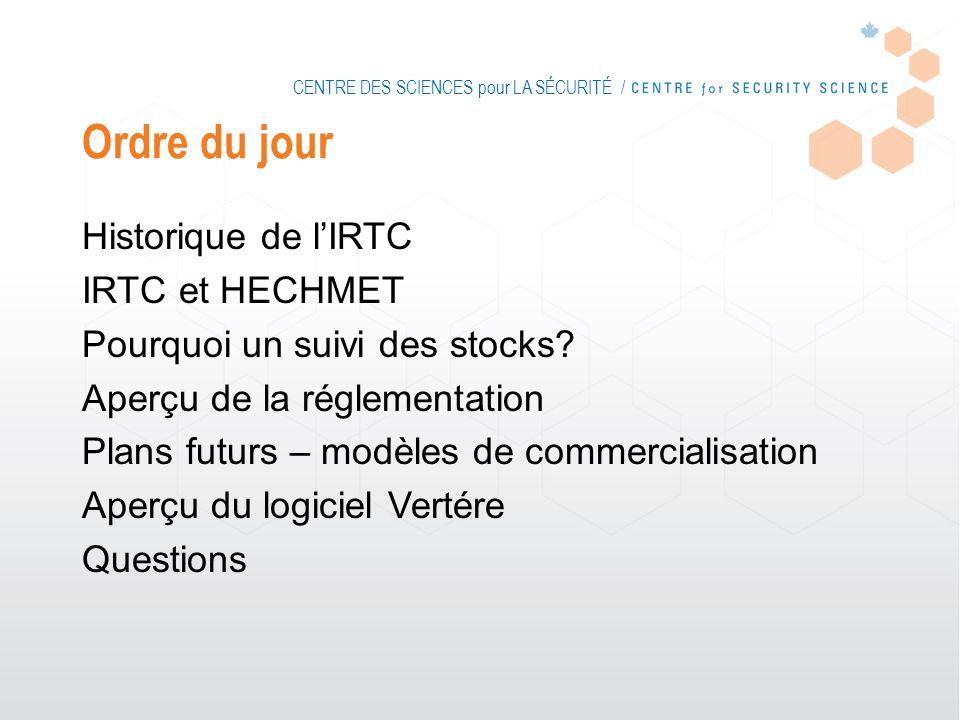 CENTRE DES SCIENCES pour LA SÉCURITÉ / Ordre du jour Historique de lIRTC IRTC et HECHMET Pourquoi un suivi des stocks.