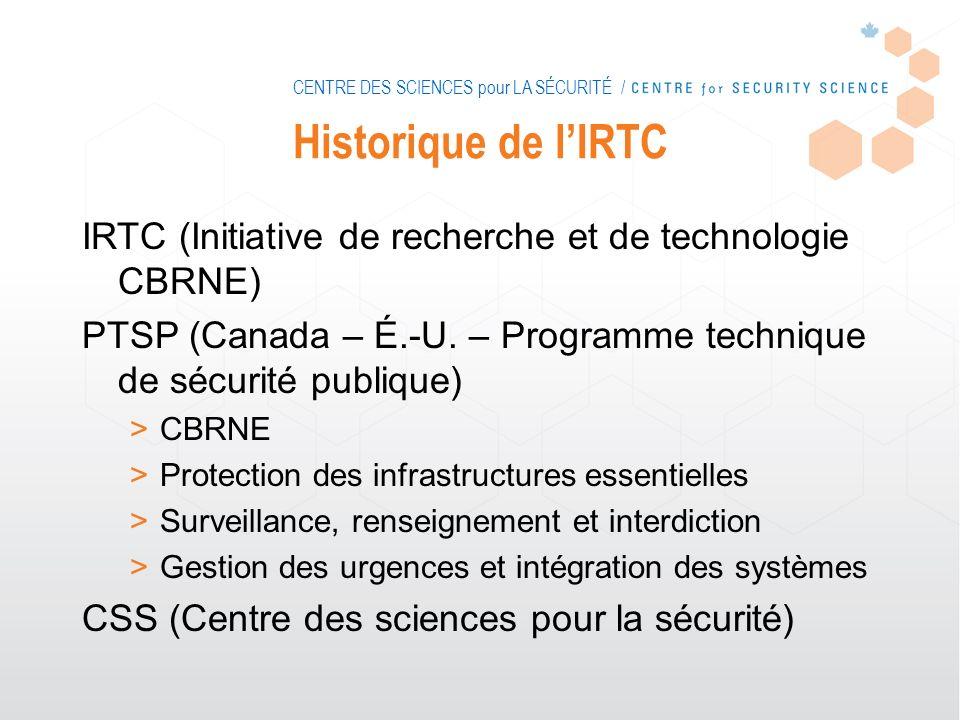 CENTRE DES SCIENCES pour LA SÉCURITÉ / Historique de lIRTC IRTC (Initiative de recherche et de technologie CBRNE) PTSP (Canada – É.-U. – Programme tec
