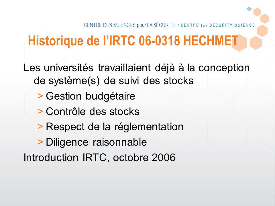 CENTRE DES SCIENCES pour LA SÉCURITÉ / Historique de lIRTC 06-0318 HECHMET Les universités travaillaient déjà à la conception de système(s) de suivi d