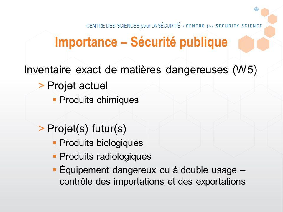 CENTRE DES SCIENCES pour LA SÉCURITÉ / Importance – Sécurité publique Inventaire exact de matières dangereuses (W5) >Projet actuel Produits chimiques