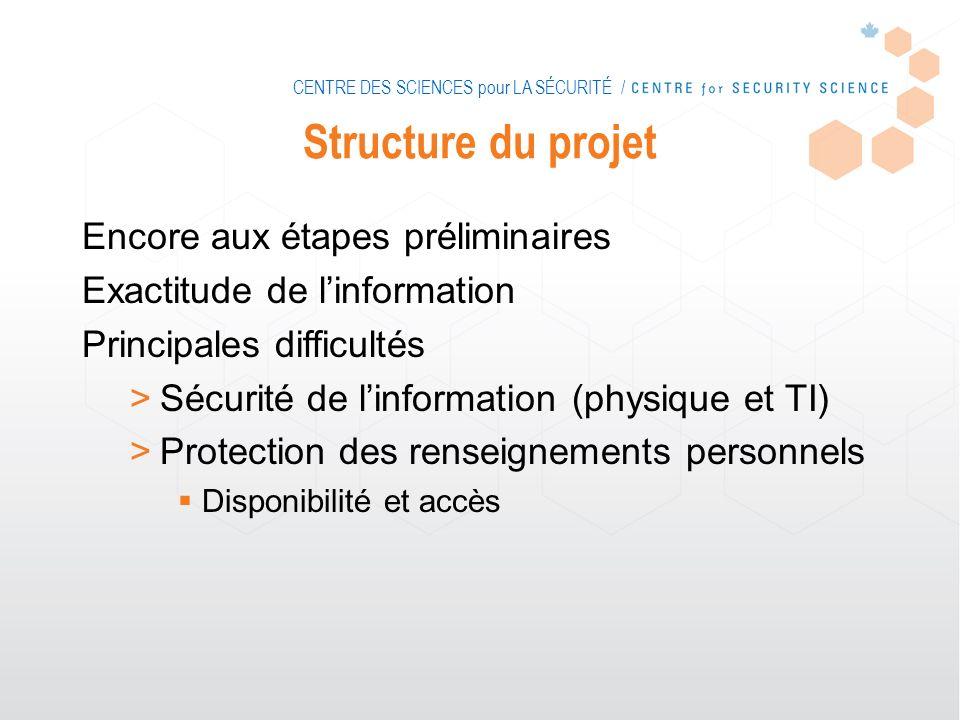 CENTRE DES SCIENCES pour LA SÉCURITÉ / Structure du projet Encore aux étapes préliminaires Exactitude de linformation Principales difficultés >Sécurit