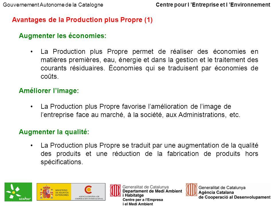 Gouvernement Autonome de la Catalogne Centre pour l Entreprise et l Environnement Avantages de la Production plus Propre (1) Augmenter les économies: La Production plus Propre permet de réaliser des économies en matières premières, eau, énergie et dans la gestion et le traitement des courants résiduaires.