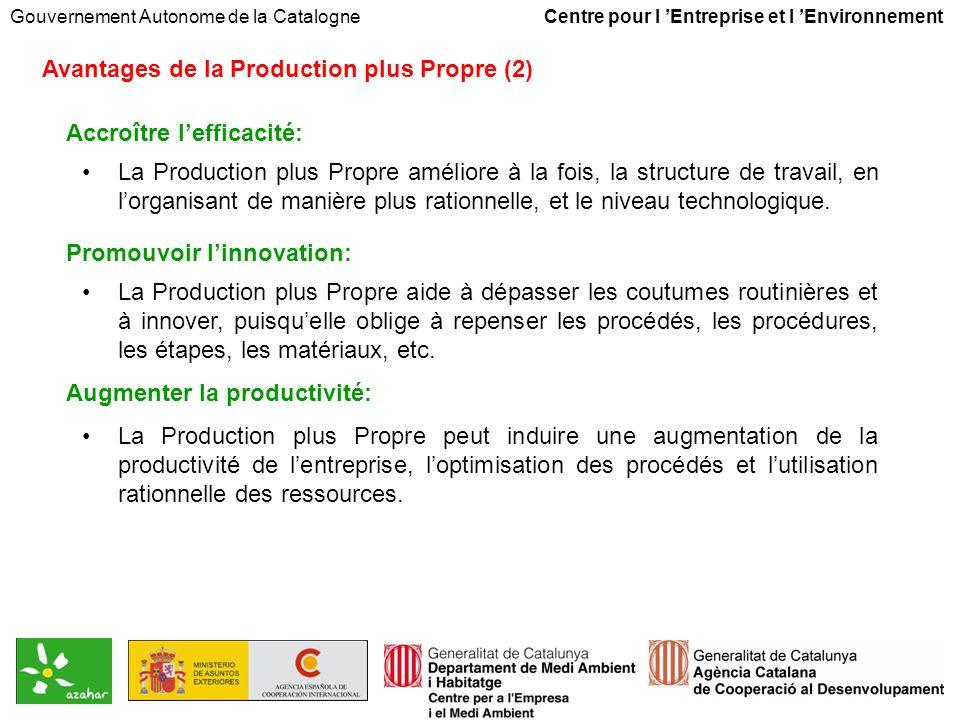 Gouvernement Autonome de la Catalogne Centre pour l Entreprise et l Environnement Avantages de la Production plus Propre (2) Accroître lefficacité: La Production plus Propre améliore à la fois, la structure de travail, en lorganisant de manière plus rationnelle, et le niveau technologique.