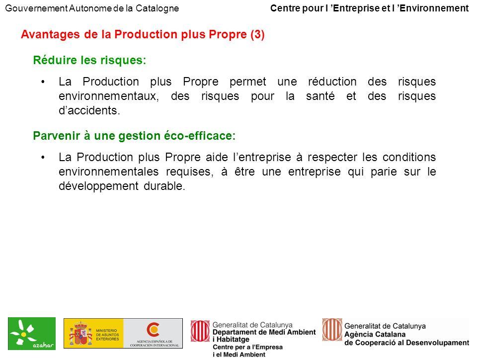 Gouvernement Autonome de la Catalogne Centre pour l Entreprise et l Environnement Avantages de la Production plus Propre (3) Réduire les risques: La Production plus Propre permet une réduction des risques environnementaux, des risques pour la santé et des risques daccidents.