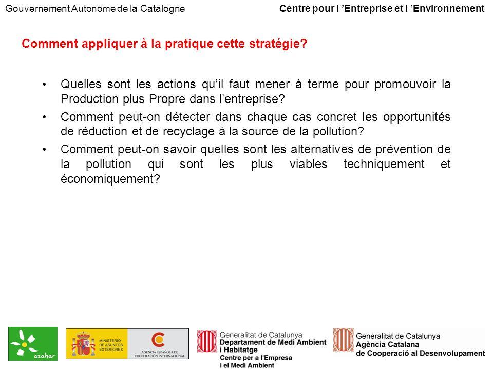 Gouvernement Autonome de la Catalogne Centre pour l Entreprise et l Environnement Comment appliquer à la pratique cette stratégie.
