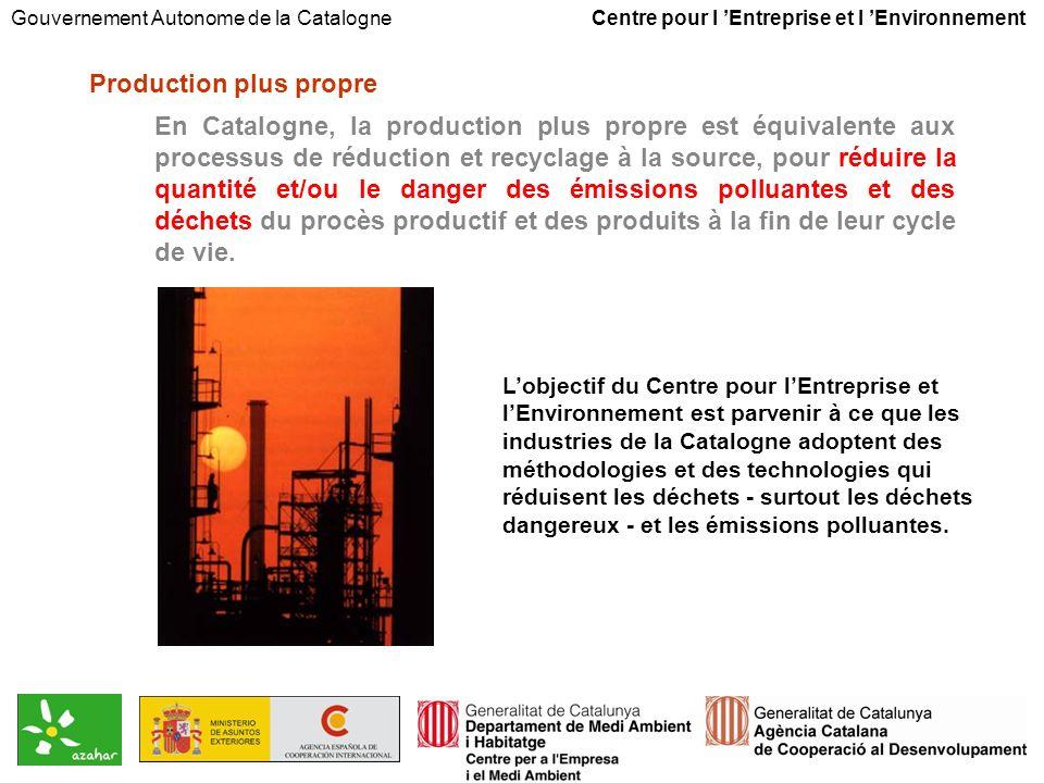 Production plus propre En Catalogne, la production plus propre est équivalente aux processus de réduction et recyclage à la source, pour réduire la quantité et/ou le danger des émissions polluantes et des déchets du procès productif et des produits à la fin de leur cycle de vie.