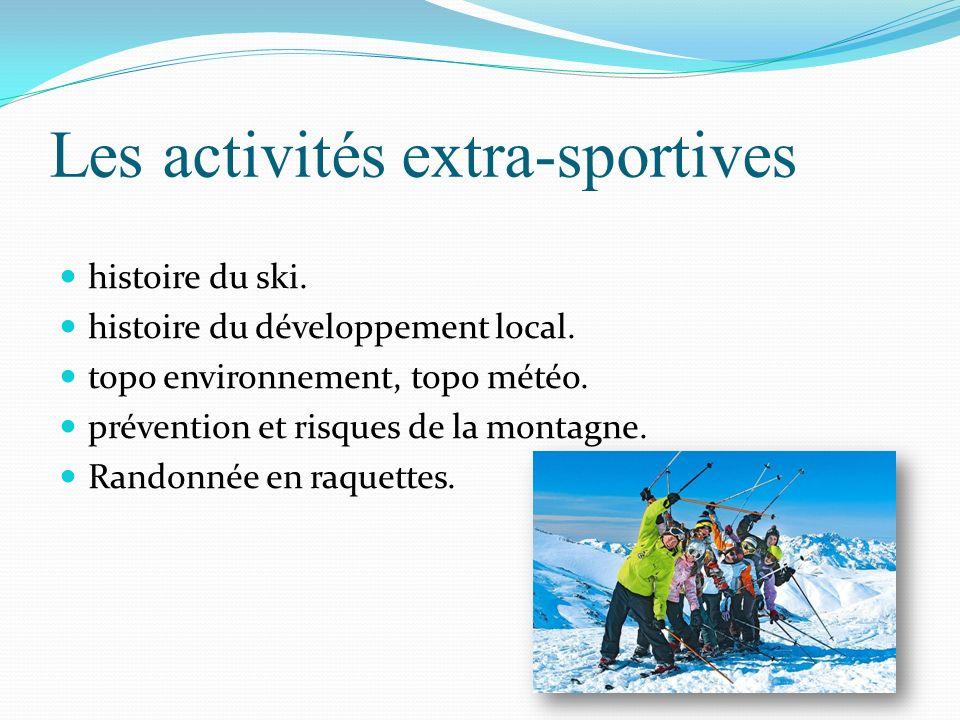 Les activités extra-sportives histoire du ski. histoire du développement local. topo environnement, topo météo. prévention et risques de la montagne.
