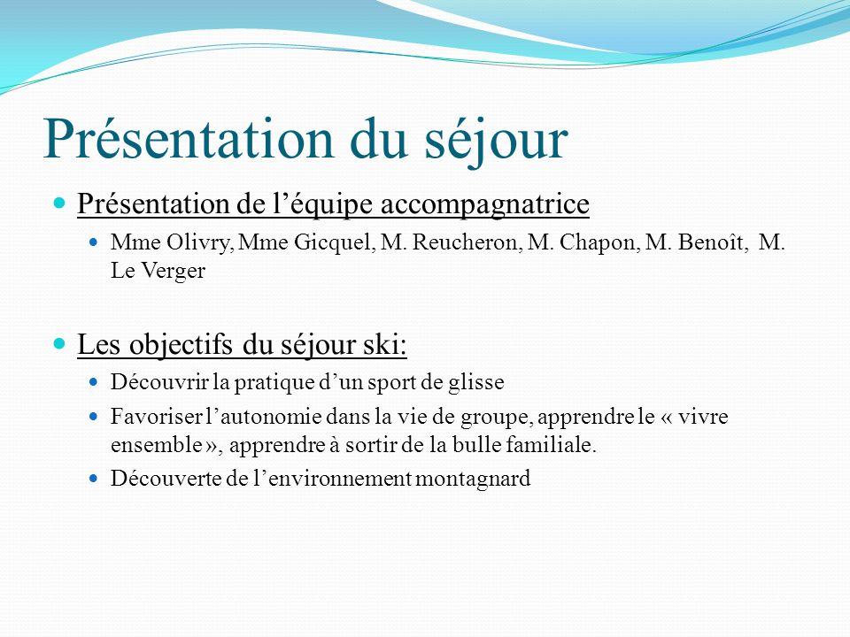 Présentation du séjour Présentation de léquipe accompagnatrice Mme Olivry, Mme Gicquel, M. Reucheron, M. Chapon, M. Benoît, M. Le Verger Les objectifs