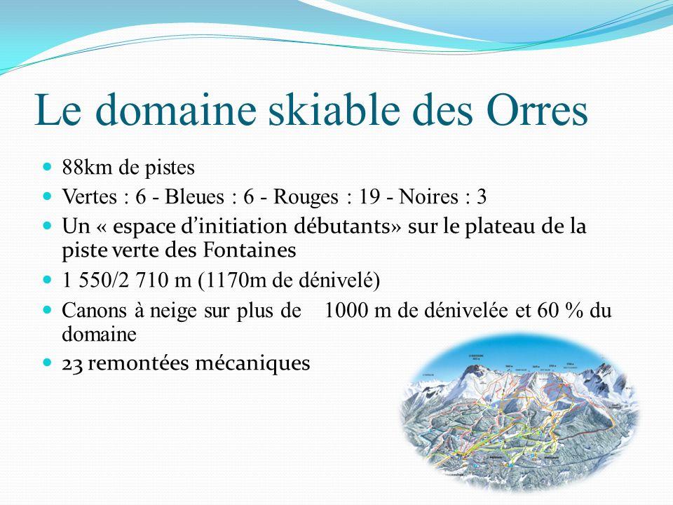 Le domaine skiable des Orres 88km de pistes Vertes : 6 - Bleues : 6 - Rouges : 19 - Noires : 3 Un « espace dinitiation débutants» sur le plateau de la