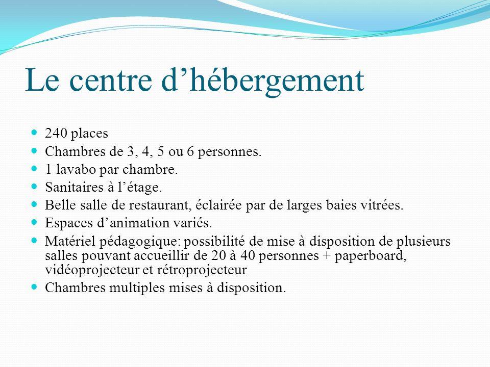 Le centre dhébergement 240 places Chambres de 3, 4, 5 ou 6 personnes. 1 lavabo par chambre. Sanitaires à létage. Belle salle de restaurant, éclairée p