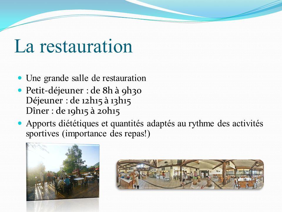 La restauration Une grande salle de restauration Petit-déjeuner : de 8h à 9h30 Déjeuner : de 12h15 à 13h15 Dîner : de 19h15 à 20h15 Apports diététique