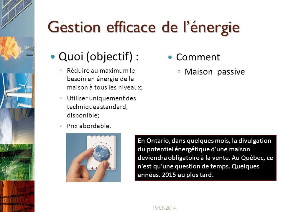 Gestion efficace de lénergie Quoi (objectif) : Réduire au maximum le besoin en énergie de la maison à tous les niveaux; Utiliser uniquement des techni