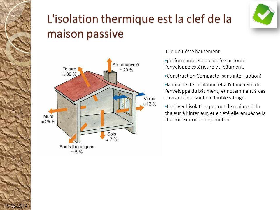 L'isolation thermique est la clef de la maison passive Elle doit être hautement performante et appliquée sur toute l'enveloppe extérieure du bâtiment,