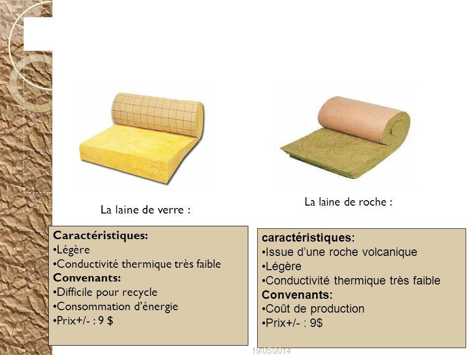 La laine de roche : caractéristiques: Issue dune roche volcanique Légère Conductivité thermique très faible Convenants: Coût de production Prix+/- : 9