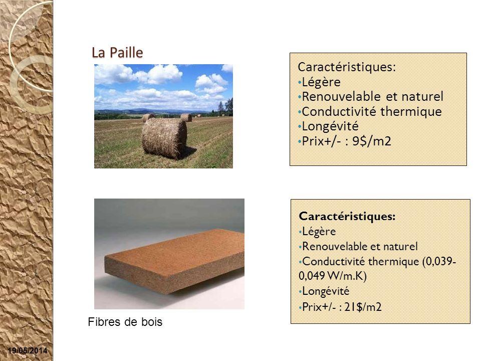 19/05/2014 La Paille Caractéristiques: Légère Renouvelable et naturel Conductivité thermique Longévité Prix+/- : 9$/m2 Fibres de bois Caractéristiques