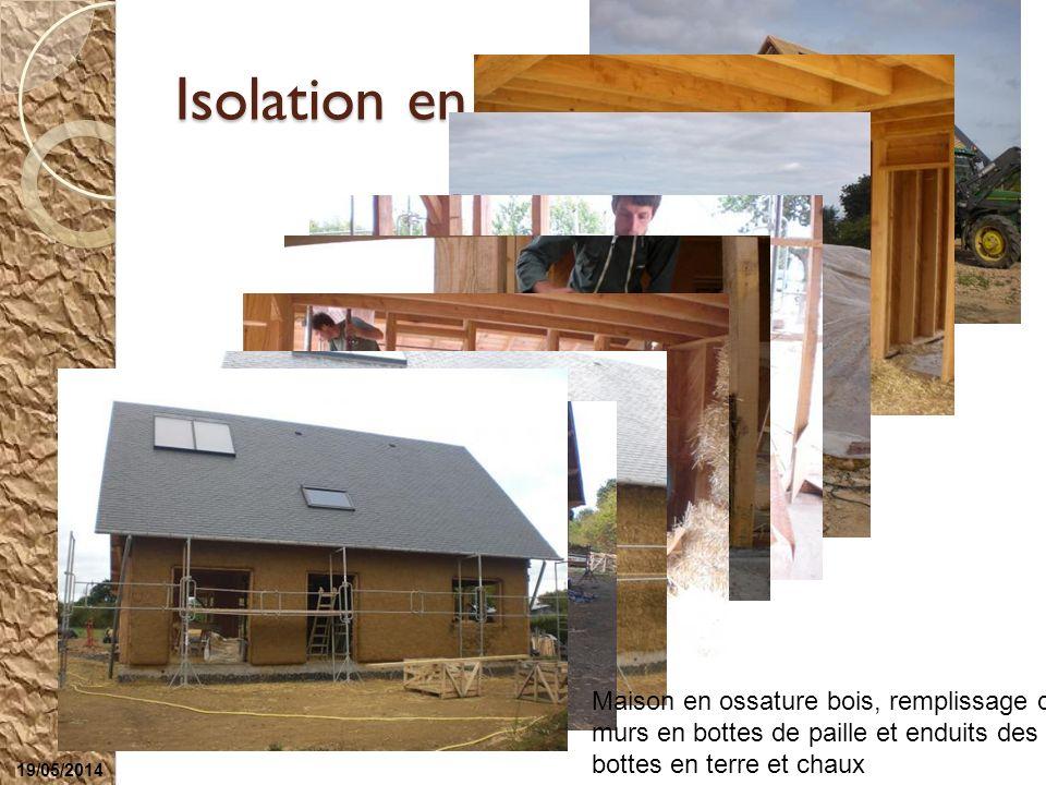 Isolation en paille Maison en ossature bois, remplissage des murs en bottes de paille et enduits des bottes en terre et chaux Les enduits : Compositio