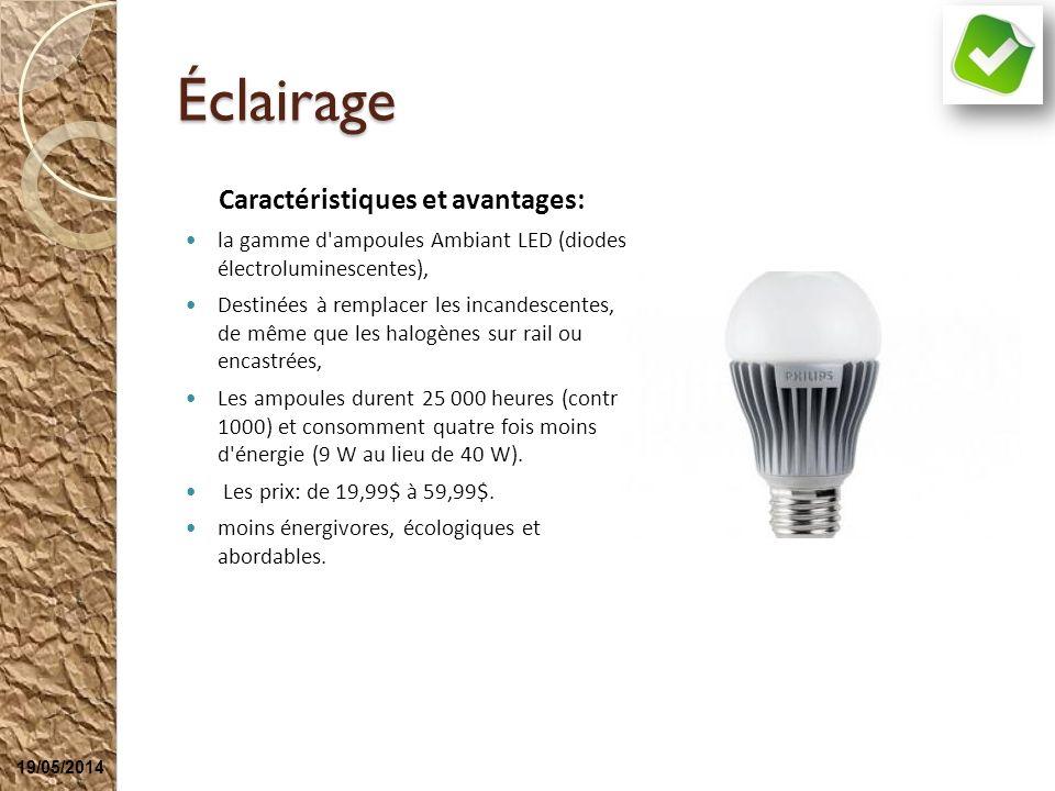 Éclairage Caractéristiques et avantages: la gamme d'ampoules Ambiant LED (diodes électroluminescentes), Destinées à remplacer les incandescentes, de m