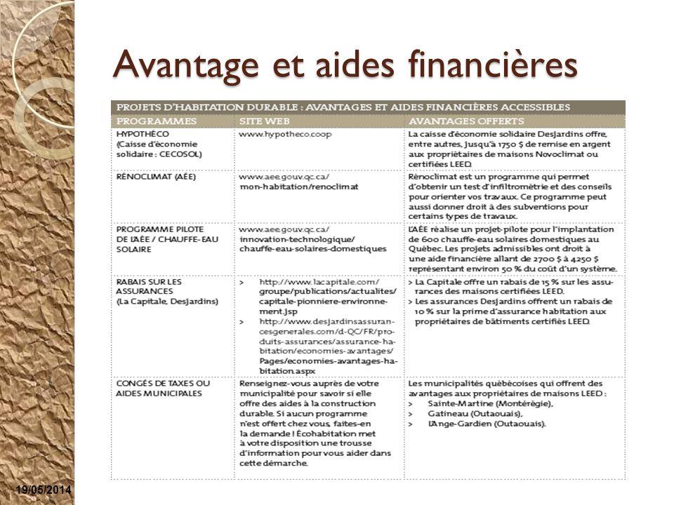 Avantage et aides financières 19/05/2014
