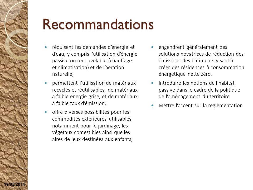 Recommandations réduisent les demandes dénergie et deau, y compris lutilisation dénergie passive ou renouvelable (chauffage et climatisation) et de la