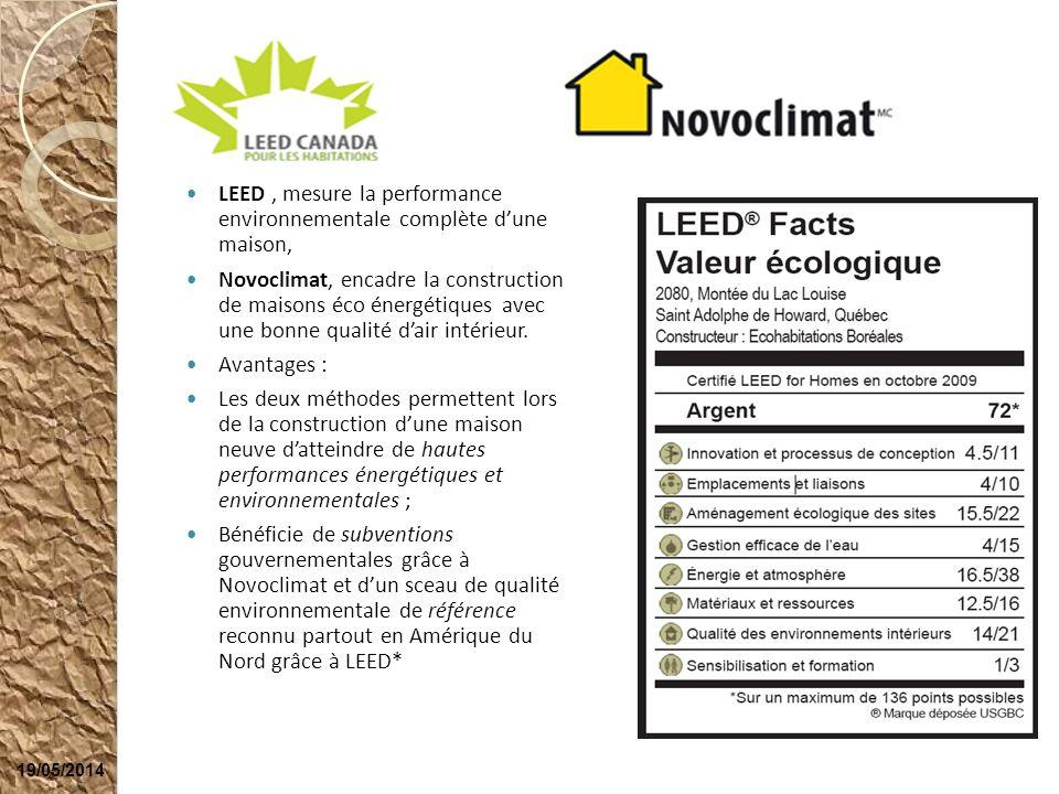 LEED, mesure la performance environnementale complète dune maison, Novoclimat, encadre la construction de maisons éco énergétiques avec une bonne qual