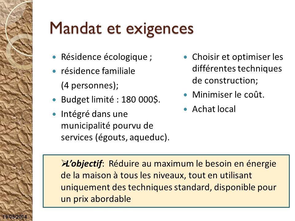 Mandat et exigences Résidence écologique ; résidence familiale (4 personnes); Budget limité : 180 000$. Intégré dans une municipalité pourvu de servic