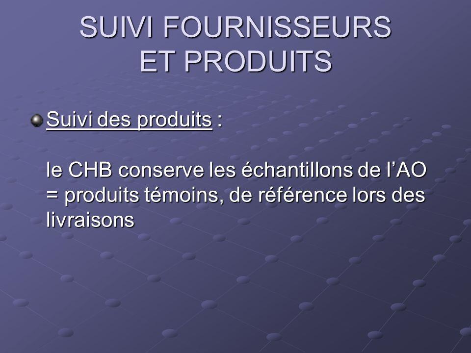 SUIVI FOURNISSEURS ET PRODUITS Suivi des produits : le CHB conserve les échantillons de lAO = produits témoins, de référence lors des livraisons