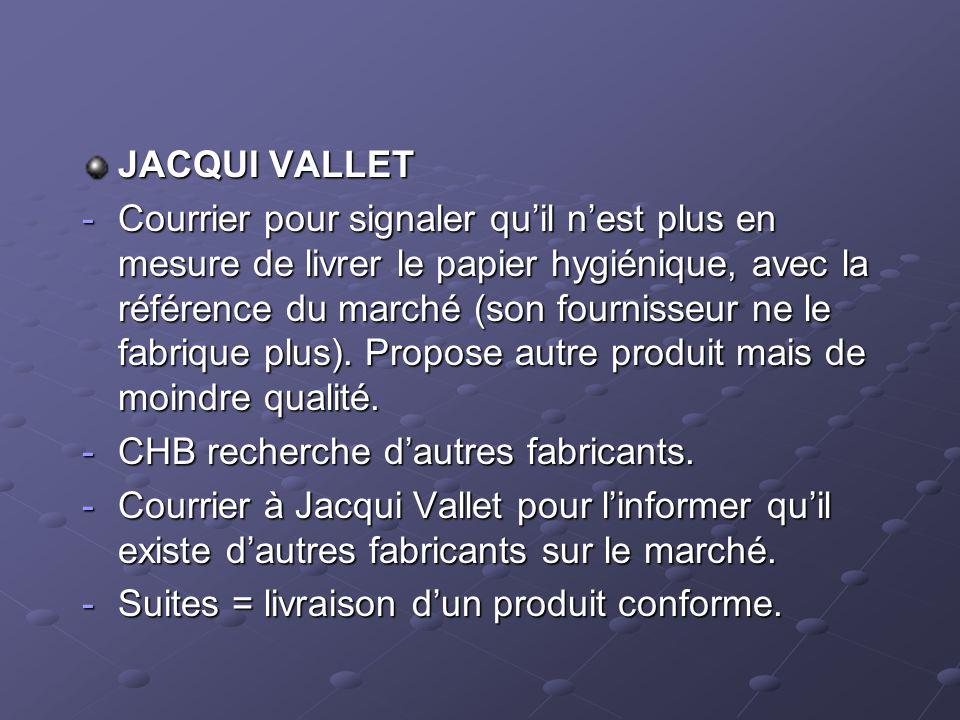 JACQUI VALLET -Courrier pour signaler quil nest plus en mesure de livrer le papier hygiénique, avec la référence du marché (son fournisseur ne le fabr