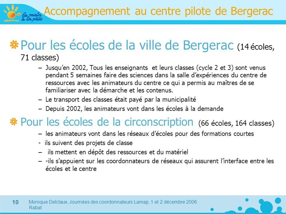 Monique Delclaux, Journées des coordonnateurs Lamap, 1 et 2 décembre 2006 Rabat 10 Accompagnement au centre pilote de Bergerac Pour les écoles de la v