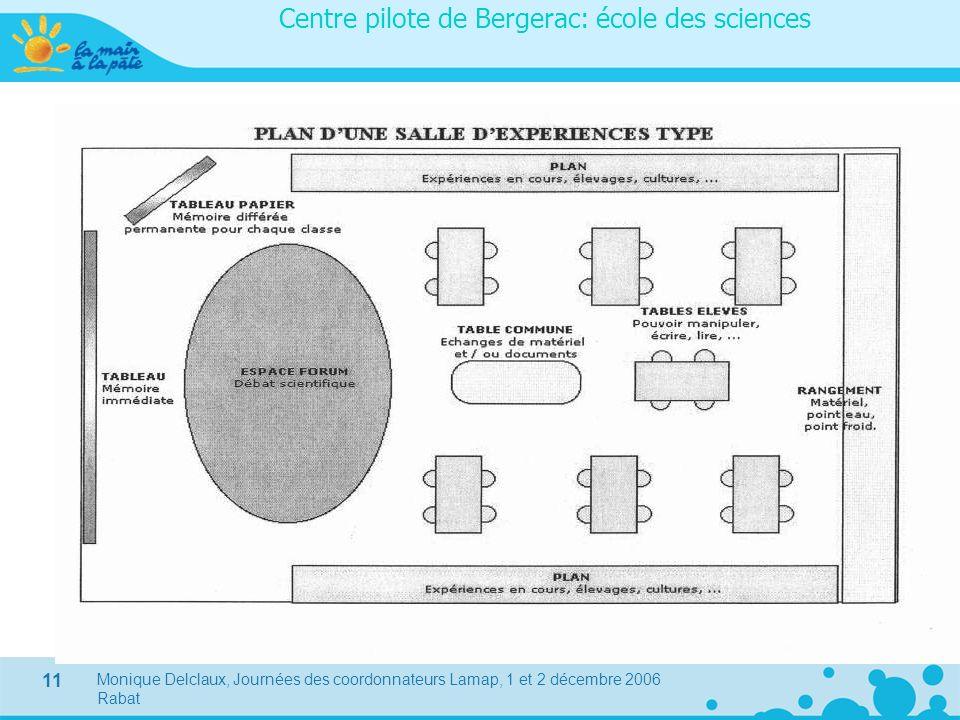 Monique Delclaux, Journées des coordonnateurs Lamap, 1 et 2 décembre 2006 Rabat 11 Centre pilote de Bergerac: école des sciences