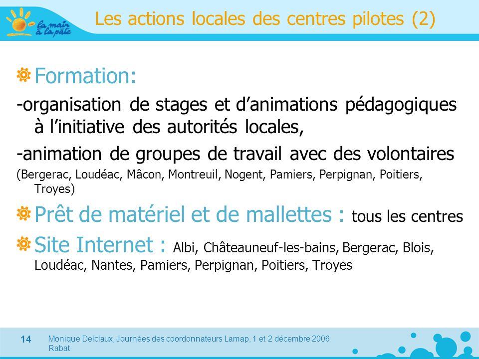 Monique Delclaux, Journées des coordonnateurs Lamap, 1 et 2 décembre 2006 Rabat 14 Les actions locales des centres pilotes (2) Formation: -organisatio