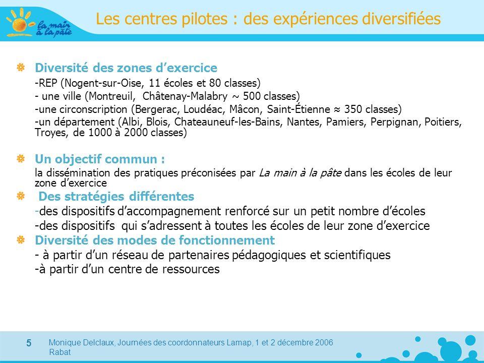 Monique Delclaux, Journées des coordonnateurs Lamap, 1 et 2 décembre 2006 Rabat 5 Les centres pilotes : des expériences diversifiées Diversité des zon