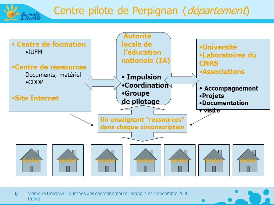 Monique Delclaux, Journées des coordonnateurs Lamap, 1 et 2 décembre 2006 Rabat 6 Centre pilote de Perpignan (département) Centre de formation IUFM Ce