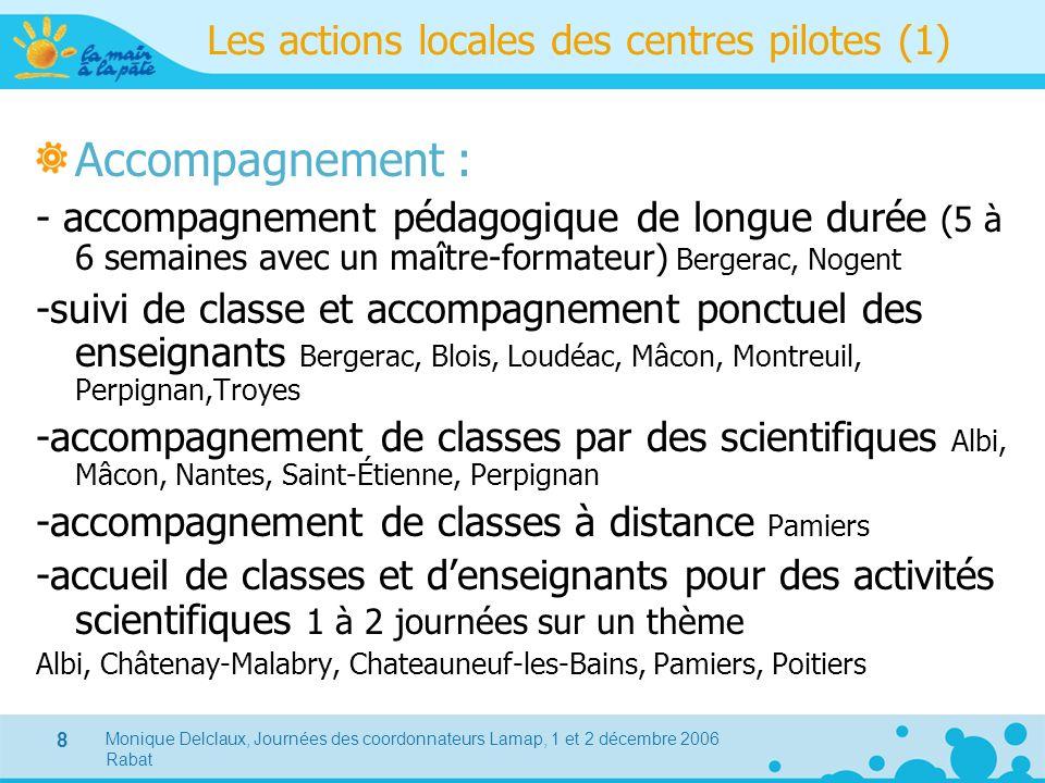 Monique Delclaux, Journées des coordonnateurs Lamap, 1 et 2 décembre 2006 Rabat 8 Les actions locales des centres pilotes (1) Accompagnement : - accom