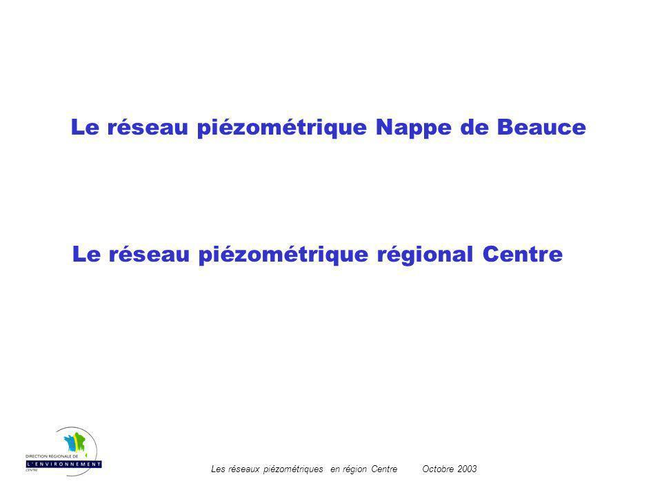 Les réseaux piézométriques en région CentreOctobre 2003 Le réseau piézométrique régional Centre Le réseau piézométrique Nappe de Beauce