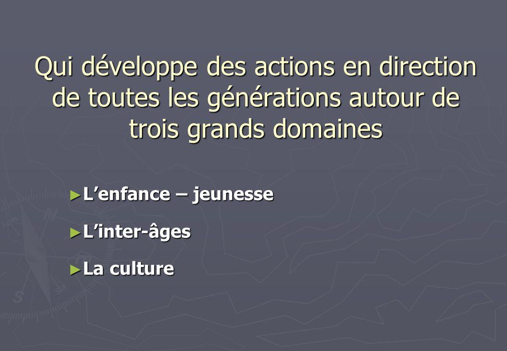 Qui développe des actions en direction de toutes les générations autour de trois grands domaines Lenfance – jeunesse Linter-âges La culture