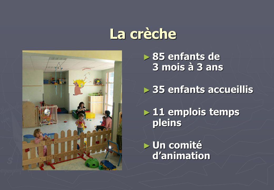 La crèche 85 enfants de 3 mois à 3 ans 35 enfants accueillis 11 emplois temps pleins Un comité danimation