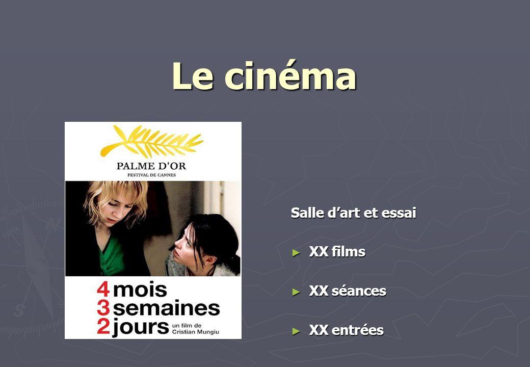 Le cinéma Salle dart et essai XX films XX films XX séances XX séances XX entrées XX entrées
