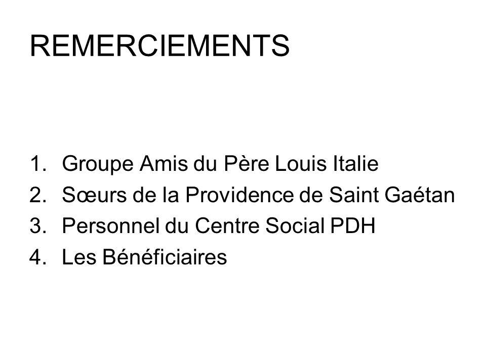 REMERCIEMENTS 1.Groupe Amis du Père Louis Italie 2.Sœurs de la Providence de Saint Gaétan 3.Personnel du Centre Social PDH 4.Les Bénéficiaires