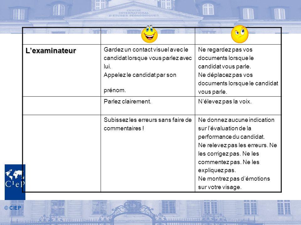 © CIEP Lexaminateur Gardez un contact visuel avec le candidat lorsque vous parlez avec lui.