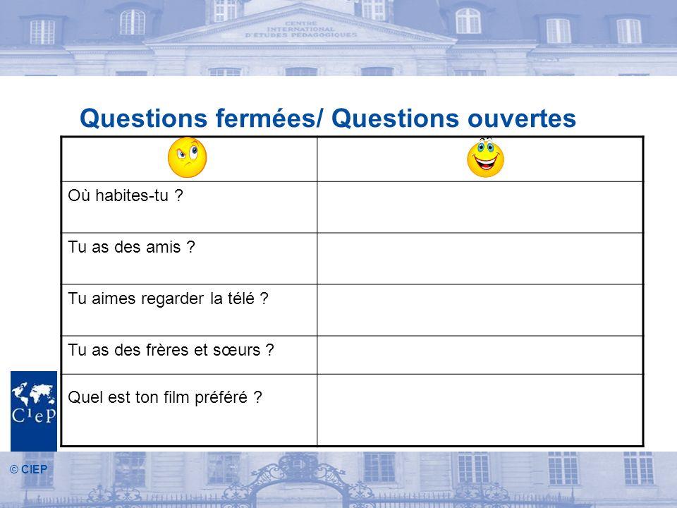 © CIEP Questions fermées/ Questions ouvertes Où habites-tu .