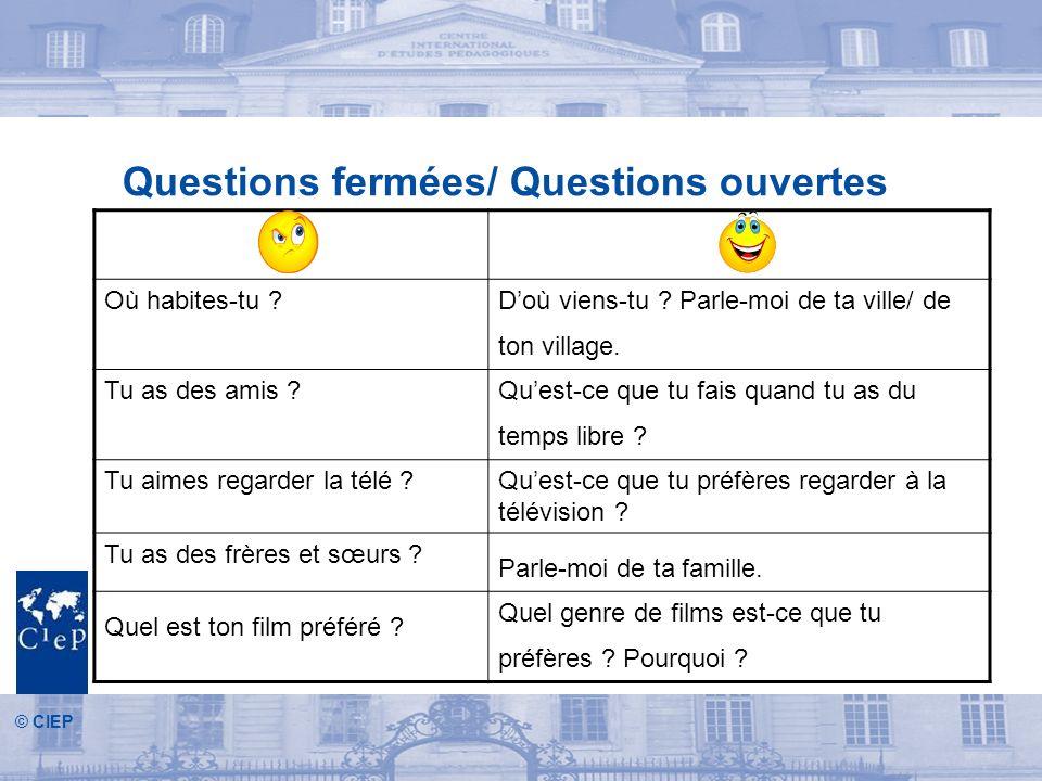© CIEP Questions fermées/ Questions ouvertes Où habites-tu ?Doù viens-tu .