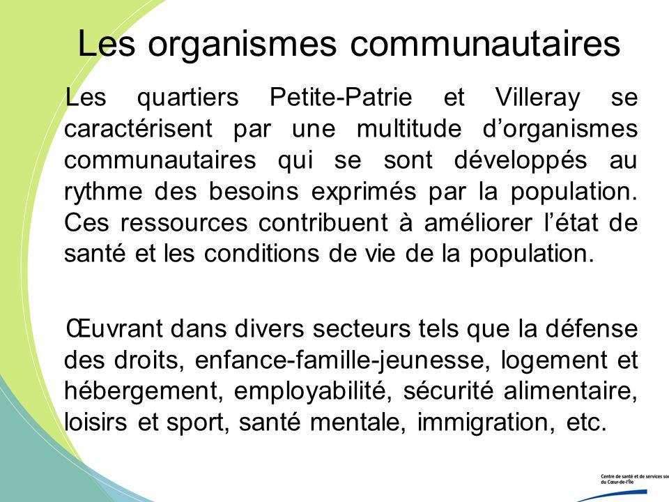 Les organismes communautaires Les quartiers Petite-Patrie et Villeray se caractérisent par une multitude dorganismes communautaires qui se sont dévelo