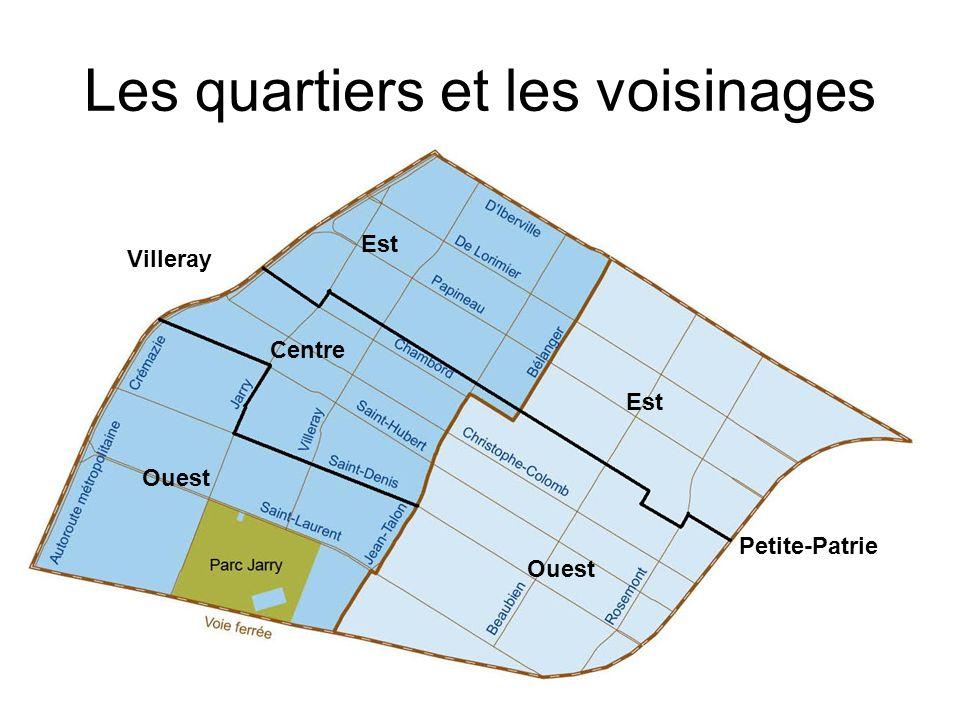 Les quartiers et les voisinages Ouest Villeray Ouest Centre Est Petite-Patrie