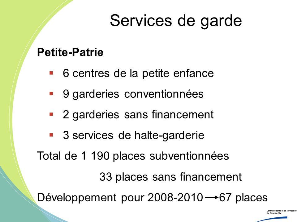 Services de garde Petite-Patrie 6 centres de la petite enfance 9 garderies conventionnées 2 garderies sans financement 3 services de halte-garderie To