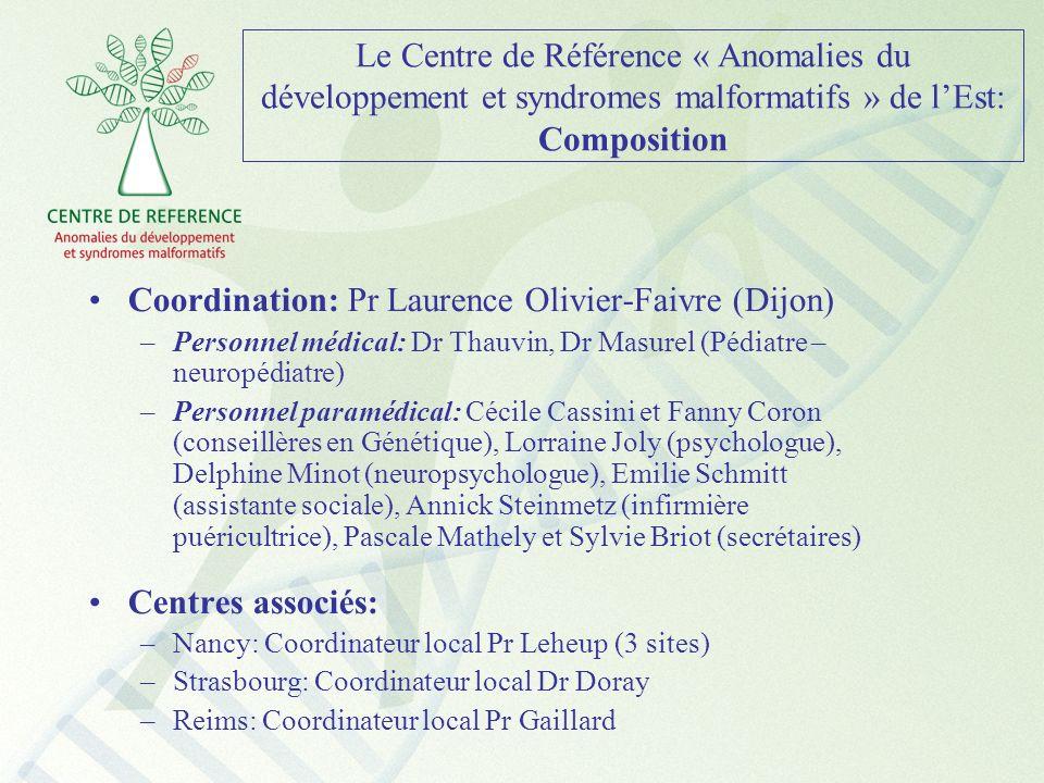 Le Centre de Référence « Anomalies du développement et syndromes malformatifs » de lEst: Composition Coordination: Pr Laurence Olivier-Faivre (Dijon)