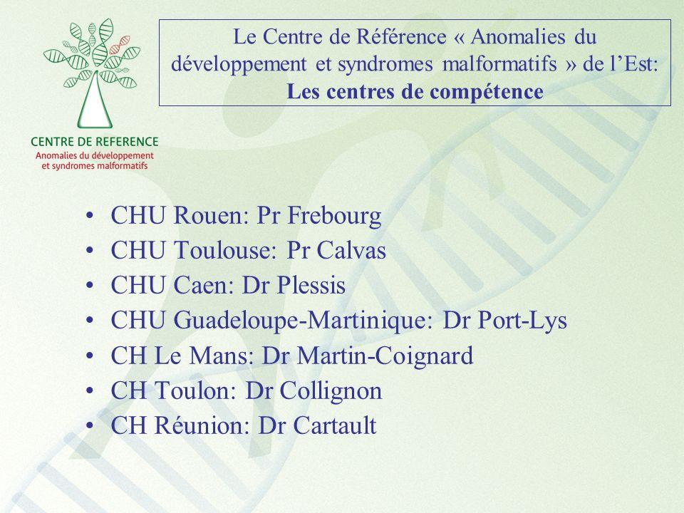 Le Centre de Référence « Anomalies du développement et syndromes malformatifs » de lEst: Les centres de compétence CHU Rouen: Pr Frebourg CHU Toulouse